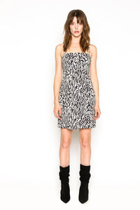 Lenon Collection. Baby Twill. Blk/White Animal Print Mini Dress Adjustable Straps
