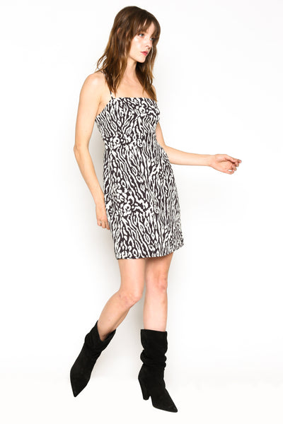Lenon Collection. Baby Twill Blk/White Animal Print Mini Dress Adjustable Straps