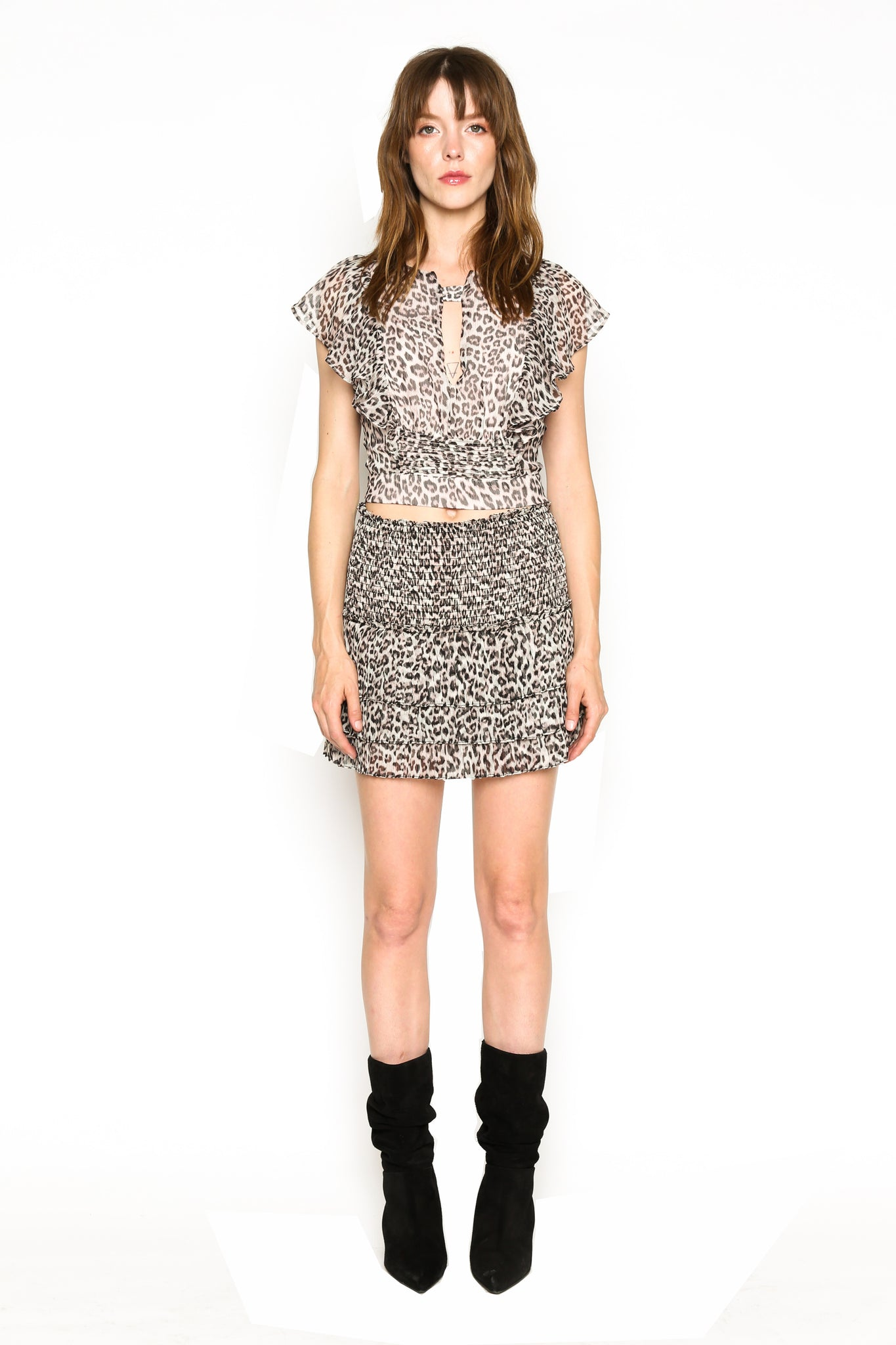 Lenon Collection. Crinkle Chiffon Blush Leopard Print Cropped Back self tie Hidden back zipper.