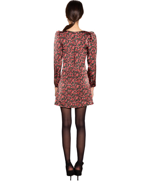 Lenon Collection. Red Floral Print Back Zipper Wrap Dress Viscose
