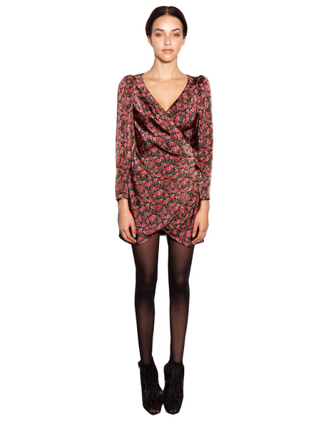 Lenon-Collection. Red Floral Print Back Zipper Wrap Dress Viscose