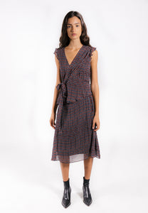 Lenon Collection. Midi wrap dress in light crepe.  Red/blue checkered print with mini ruffle sleeve detail.