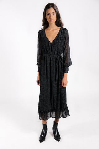 Lenon Collection. Jacquard dot burnout with cuffed sleeves and button detailing. Self tie midi dress.