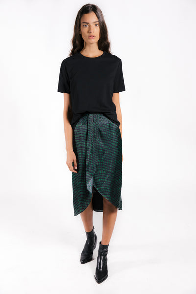 Lenon Collection. Satin skirt  featuring a green checkered print with center gathering. Back zipper.