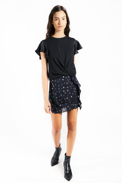 Lenon Collection. Cotton and silk crew neck top. Short sleeve and front knot hemline.