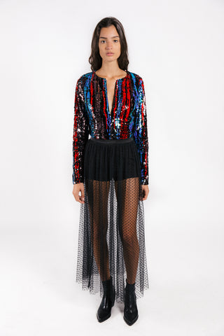 Lenon Collection. Navy/Red multi- colored sequins long sleeved crop top. Plunging neckline.