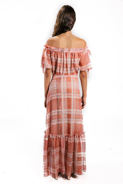 Lenon Collection. Off the shoulder maxi dress. Bow tie detail on shoulder. Red/white plaid in crinkle chiffon.