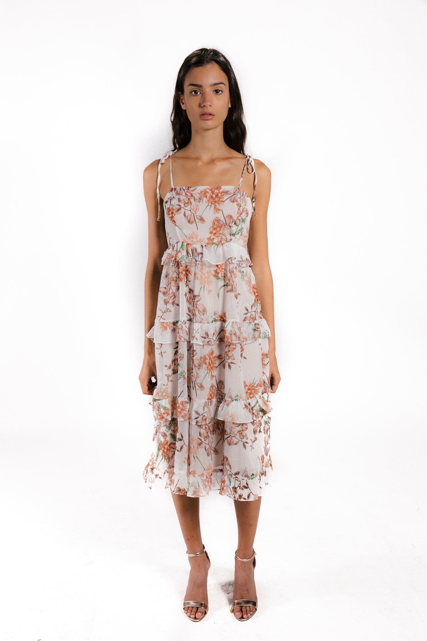 Lenon Collection. Strappy tiered ruffle dress. Crinkle chiffon in Orange wildflower print.