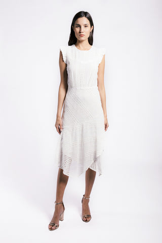 Lenon Collection. The Harper Dress in White.  Asymmetrical midi hemline Back Zipper Mini ruffle sleeve detail Eyelet Embroidered Chiffon.