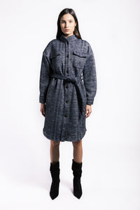 Lenon Collection. Dual face fabric Inside: warm cozy fur-like texture. Outside: plaid texture. Blue with Self tie.