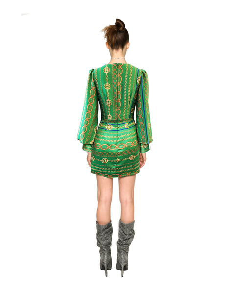 Lenon Collection. Green chain print Ruched front and back detail Plunging V neckline Back hidden zipper Textured Crepe