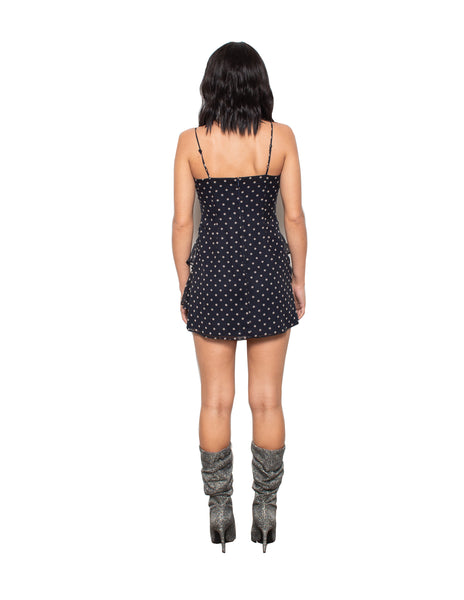 Lenon Collection. Black Polka Dot Front cover button detail Back zipper Chiffon.