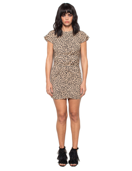 Lenon Collection.Taupe Cheetah Print Short sleeved Back Zipper Baby Twill