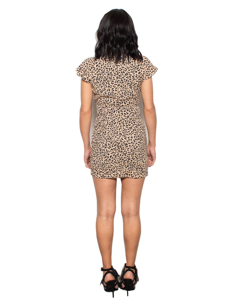 Lenon Collection. Taupe Cheetah Print Short sleeved Back Zipper Baby Twill