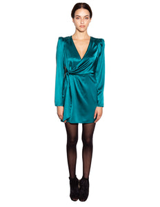 Lenon Collection. Jade Back hidden zipper Front wrap tie Pleated long sleeve Silk