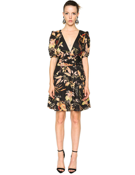 Lenon Collection. Black/Peach Floral Print Puff sleeve Flare hemline Back hidden zipper Cotton Ramie