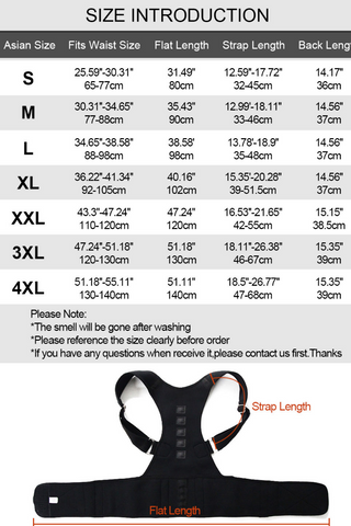 Back support brace sizing chart