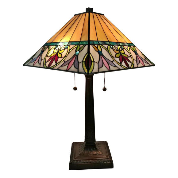 20 In Red Stained Glass Table Lamp With Double Lit Magna