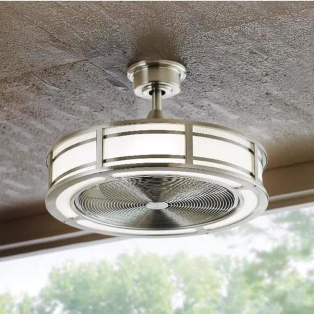 Brette Brushed Nickel Ceiling Fan 23in LED Indoor//Outdoor Remote Control 3 Speed