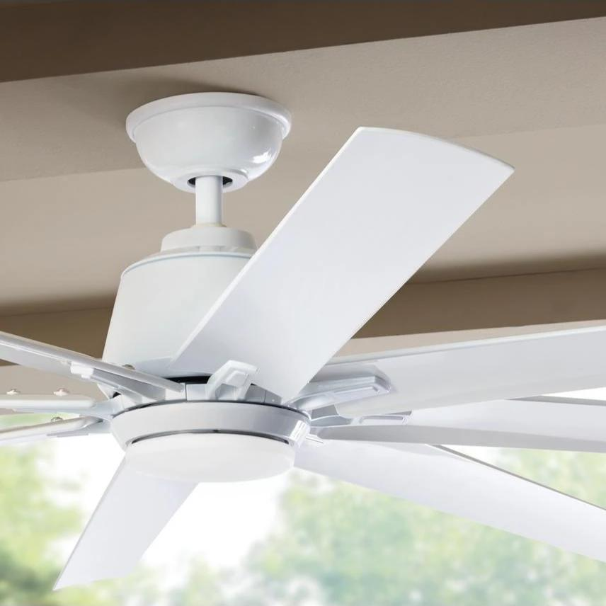 Kensgrove 72 In Led Indoor Outdoor White Ceiling Fan With Light Kit And Remote Control Home Decorators Collection Yg493od Wh Home Decorators Outlet