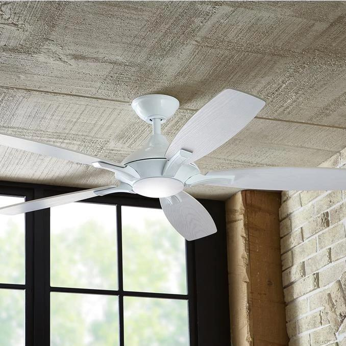 Home Decorators Collection Petersford 52 In Integrated Led Indoor White Ceiling Fan With Light Kit And Remote Control