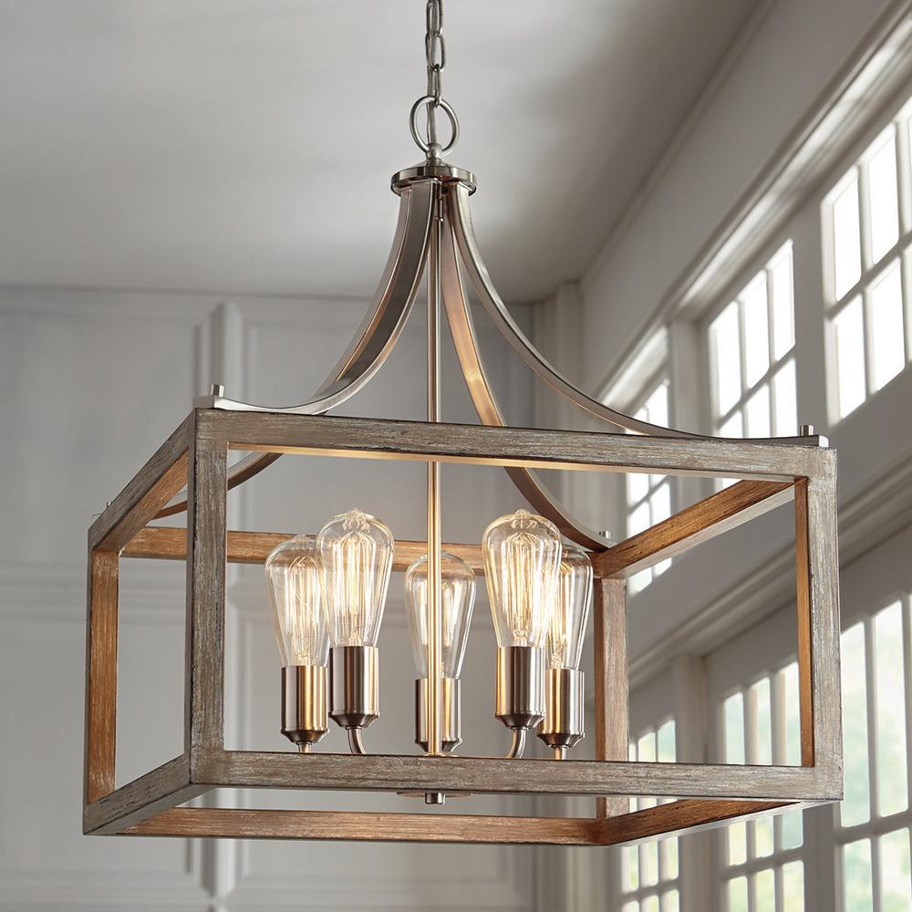 Lowest Price Cheap Chandelier Boswell Quarter 20 In 5 Light Brushed Ni Home Decorators Outlet