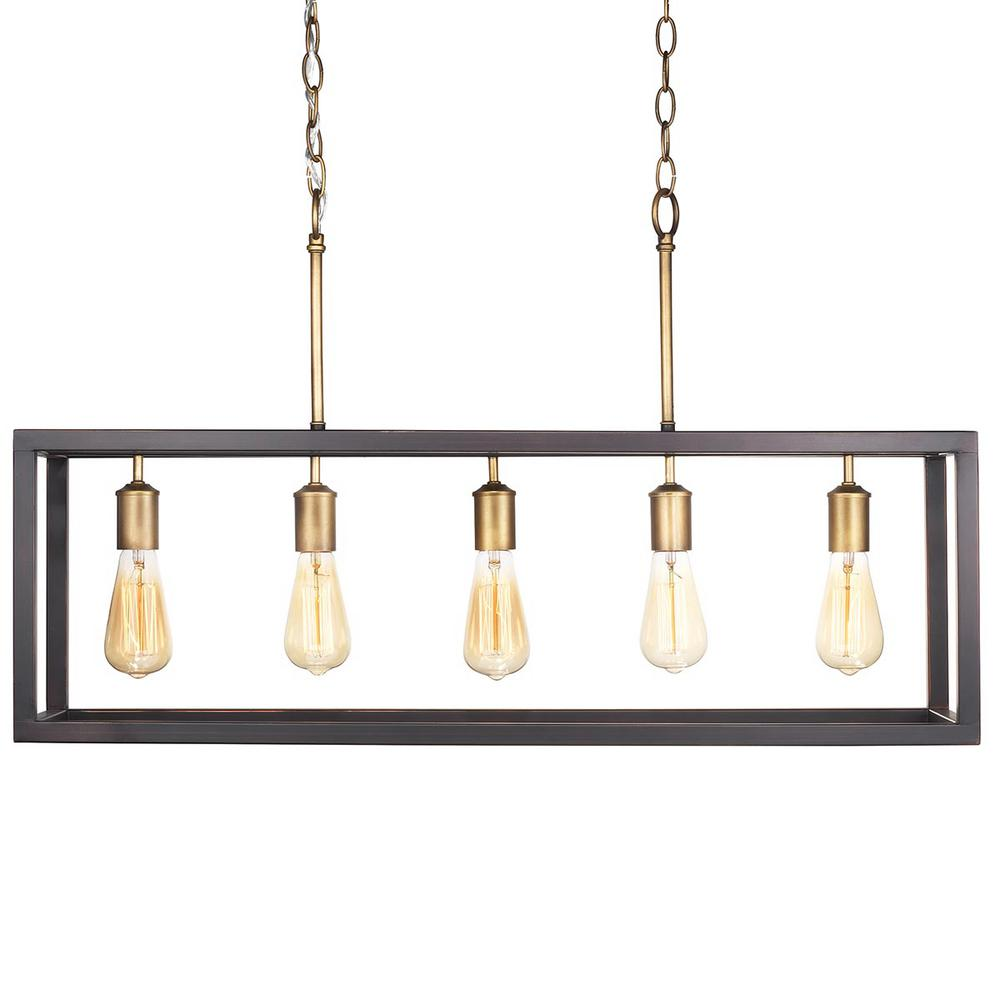 Boswell Quarter Collection 5 Light Vintage Brass Island Chandelier With Painted Black Distressed Wood Accents Home Decorators Collection 7965hdcvbdi Home Decorators Outlet