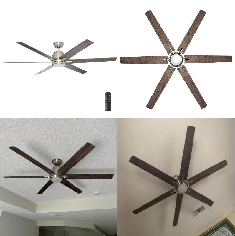 Modern 64 In Led Brushed Nickel Ceiling Fan With Remote Control Home Decorators Outlet
