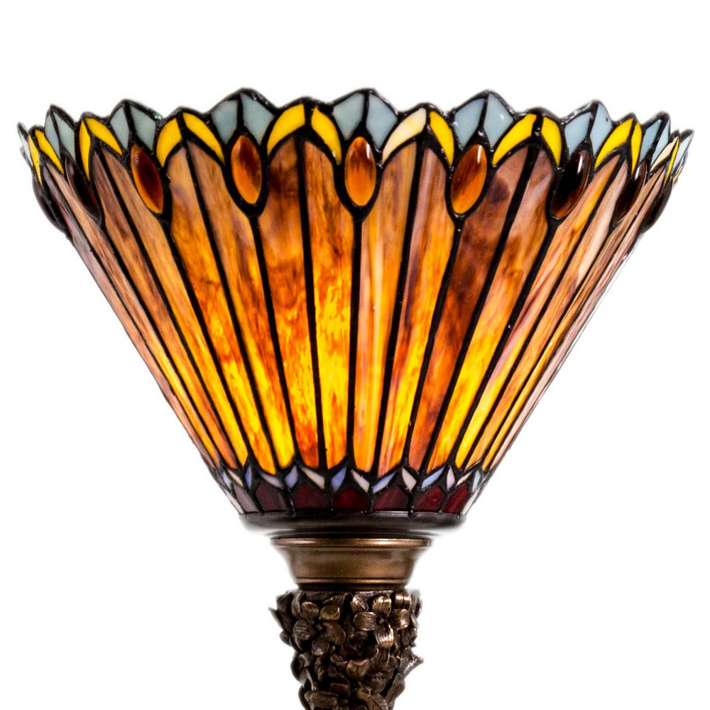 River Of Goods 27 In Amber Table Lamp Torchiere With Stained