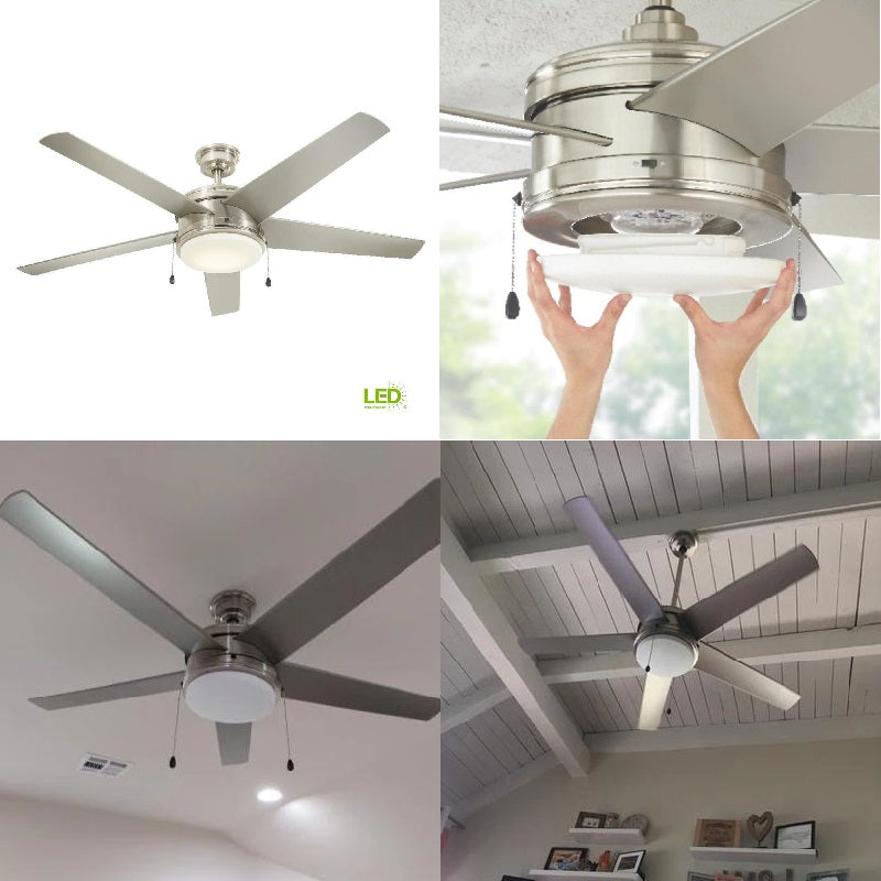 Portwood 60 In Led Indoor Outdoor Brushed Nickel Ceiling Fan Home Dec Home Decorators Outlet