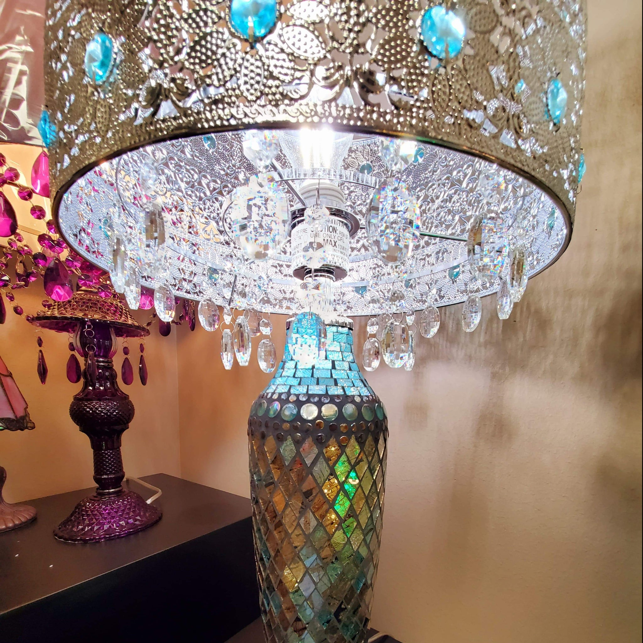 24 25 In Turquoise Table Lamp With Gloria S Crystal Beaded Shade And Mosaic Base River Of Goods 15296s Home Decorators Outlet