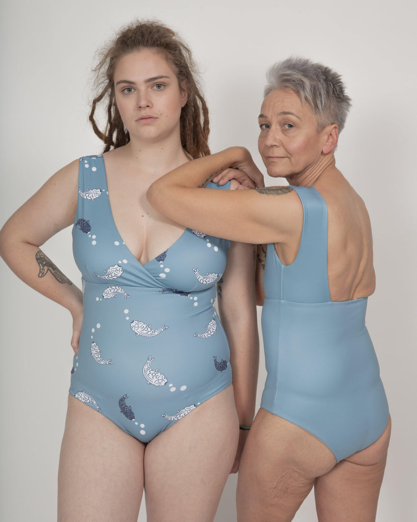 Newgale Swimsuit Reversible in Koi Fish Print / Light Blue - boochen eco-conscious surfwear