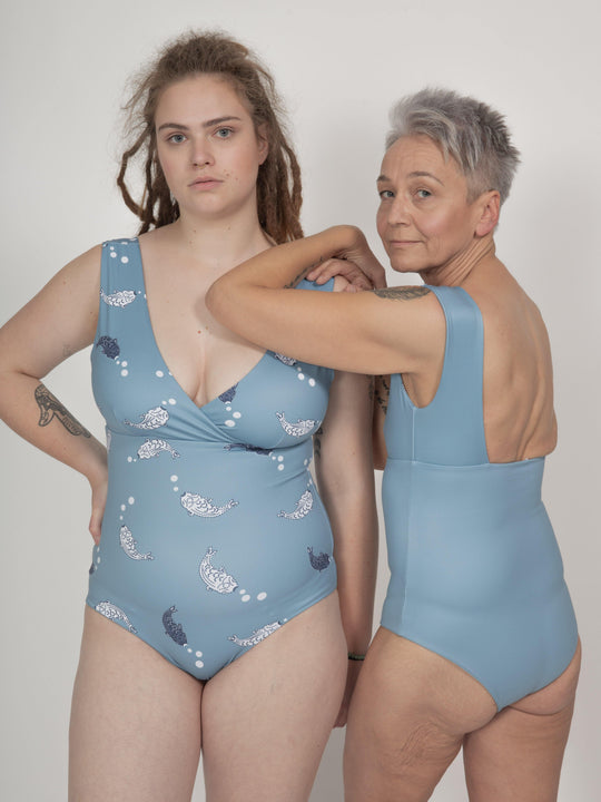 Newgale Swimsuit Reversible in Koi Fish Print / Light Blue