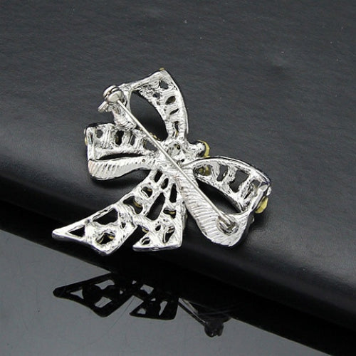 Rhinestoned Hollow Out Bow Brooch