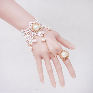 2019 Faux Pearl Floral Lace Bracelet With Ring