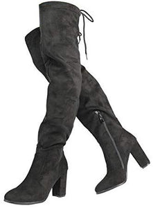 Women's Thigh High Fashion Over The Knee Block Heel Boots