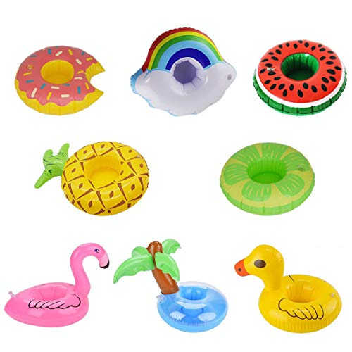Inflatable Drink Holders 8 Packs Flamingo Palm Tree Pineapple Donuts Drink Floats Cup Holders Coasters for Pool Party Bath Toys Water Fun
