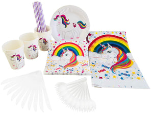Unicorn Party Supplies Set - Plastic Spoons, Knives, Paper Plates, Cups, Straws, Napkins, Tablecloth -Theme Party Supply Pack - Serves 10