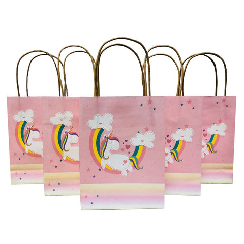 Unicorn Gift Bags Paper Treat Bags Party Favor Bags Handles Birthday Party Supplies Pack of 10