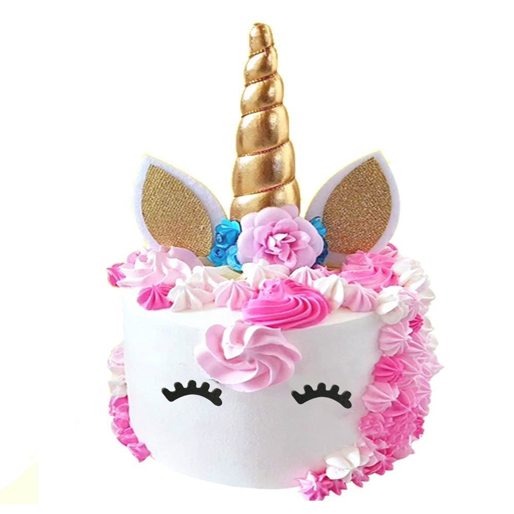 PalkSky Handmade Gold Unicorn Birthday Cake Toppers set.