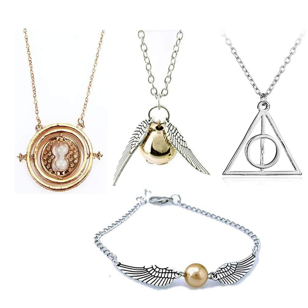 Golden XIANGLIAN Harry Potter Necklace Set Time Turner Deathly Hallows Golden Snitch Necklace for Harry Potter Fans Gifts Collection or Decorations Magical Cosplay Costume Jewelry Accessories
