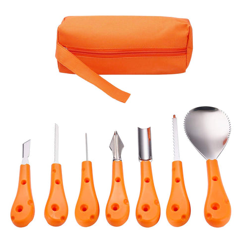 Halloween Pumpkin Carving Tool Kit 7 Pieces Sturdy Stainless Steel Pumpkin Tools with Carrying Bag