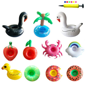 Inflatable Drink Holders 12 Packs Crab Duck Palm Tree Donuts Rainbow Fruit Drink Floats Cup Holders Coasters for Pool Party Bath Toys with Mini Air Pump in Random Color
