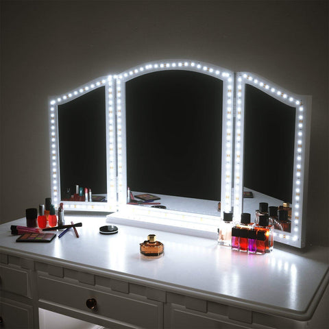 2019 Vanity Mirror Lights Kit for Makeup Dressing Table Set 13ft Flexible LED Strip 6000K Daylight White with Dimmer and Power Supply