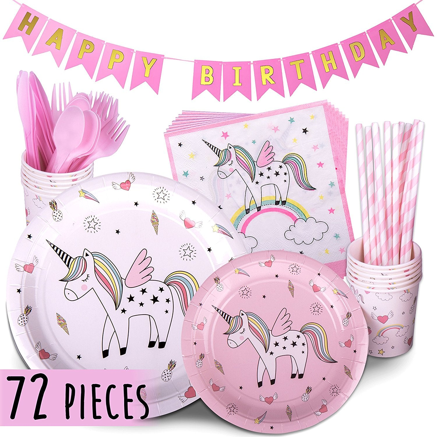 Unicorn Party Supplies PINK 72 Piece Pack Children's