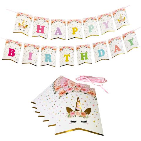 Happy Birthday Banner Unicorn Themed Party Decorations Favors Birthday Party Supplies