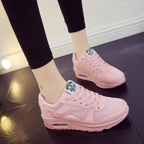 2017 Fashion Korean Women Shoes Spring Tenis Feminino Casual Shoes Outdoor Walking Shoes Women Flats Pink Lace Up Ladies Shoe