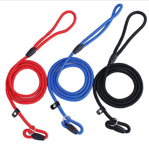 130cm Long 0.6cm Diameter Nylon Dog Leash Rolled Round Dog Slip Lead collar Leash Dog Training Leash 3 Colors