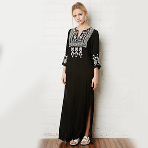2019 Floral Embroidery Dress V-Neck Black Vintage Maxi Dresses Cotton Holiday Boho Chic Ethnic Split Beach Women Clothing