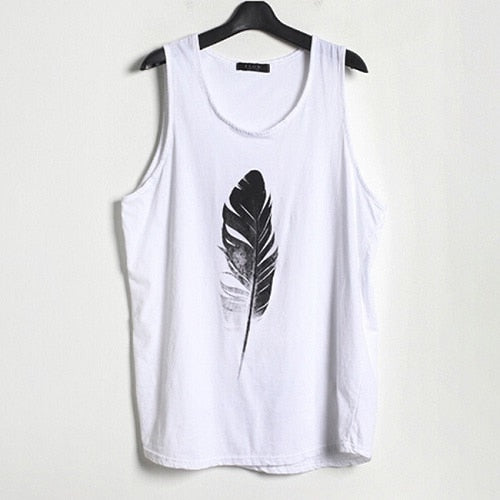 Hot Art Feather Print Casual T-Shirt Men O-Neck Tank Tops Boy Tee Shirt Fashion Sleeveless T-shirts For Male Clothing Plus Size